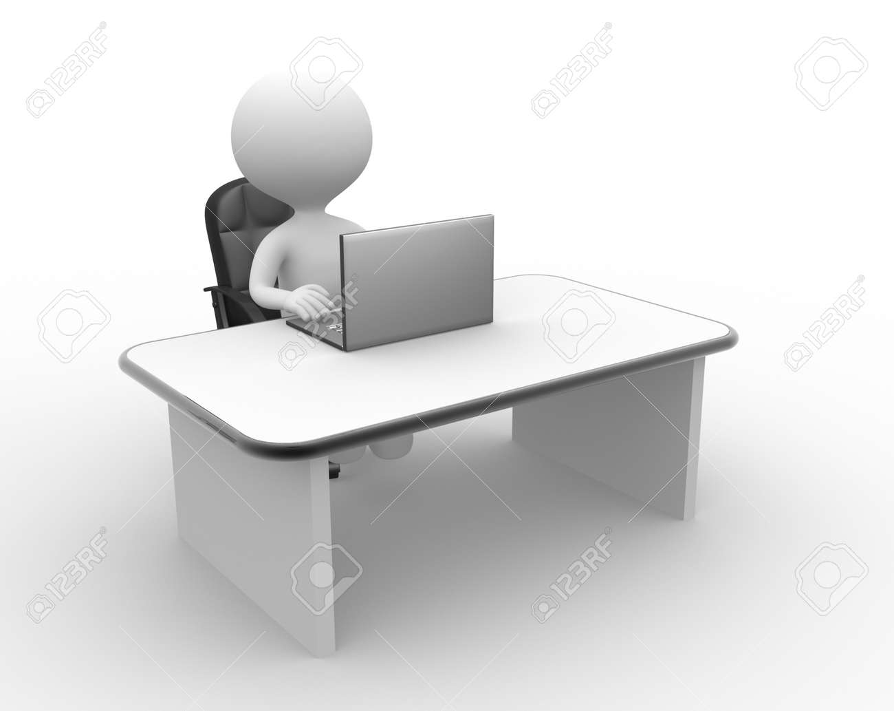 3d people - man, people and a laptop. Office Stock Photo - 21138628