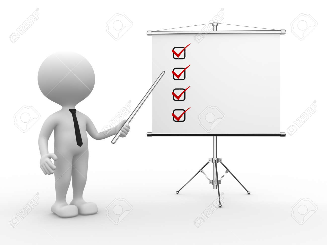 3d people - man, person and flip chart. Checklist Stock Photo - 21138631