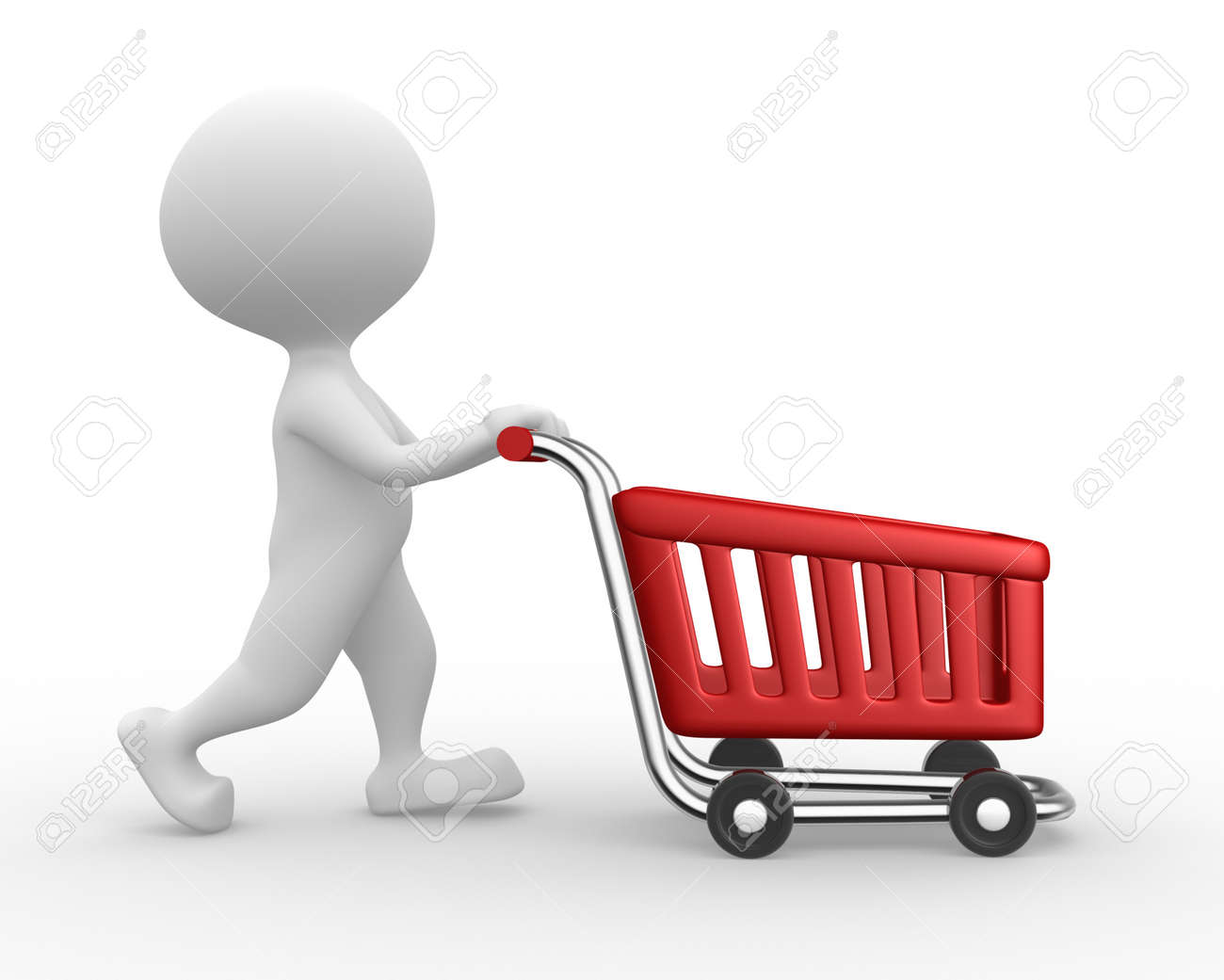 3d people - man, person with a shopping car Stock Photo - 21138643