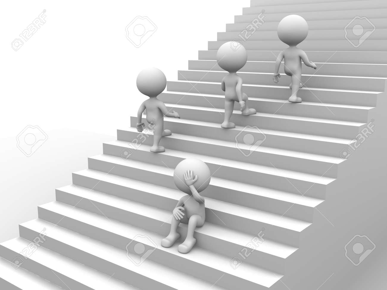 3d people - man, person with stairs. Depressing Stock Photo - 21138738