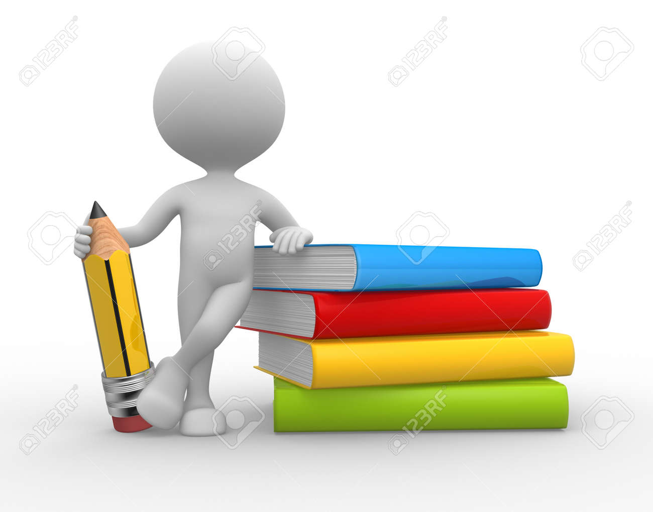 3d people - man, person with books and a pencil Stock Photo - 21358957