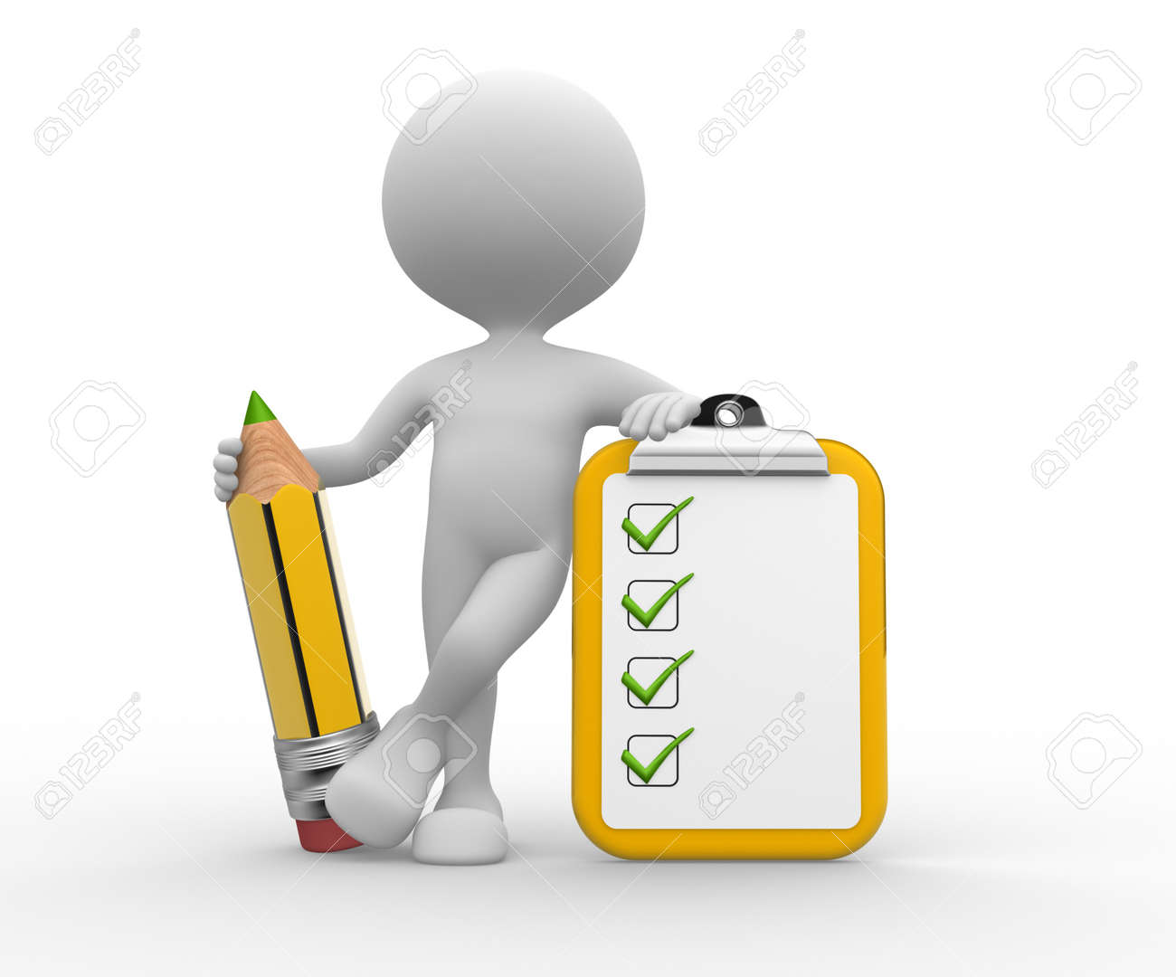 3d people - man, person with a pencil and a clipboard  Checklist Stock Photo - 21358961
