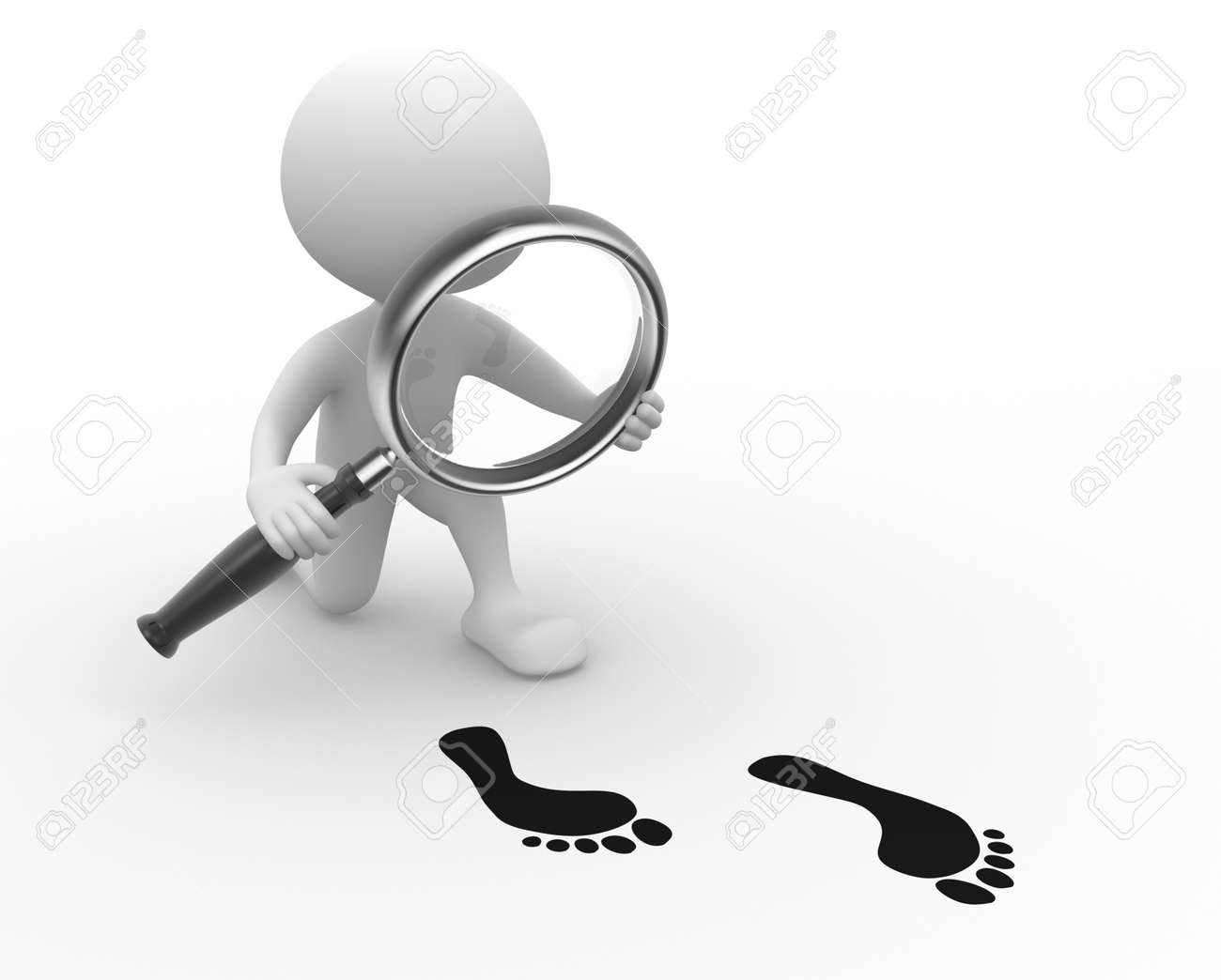 3d people - man, person with a magnifying glass and footprint Stock Photo - 21358970