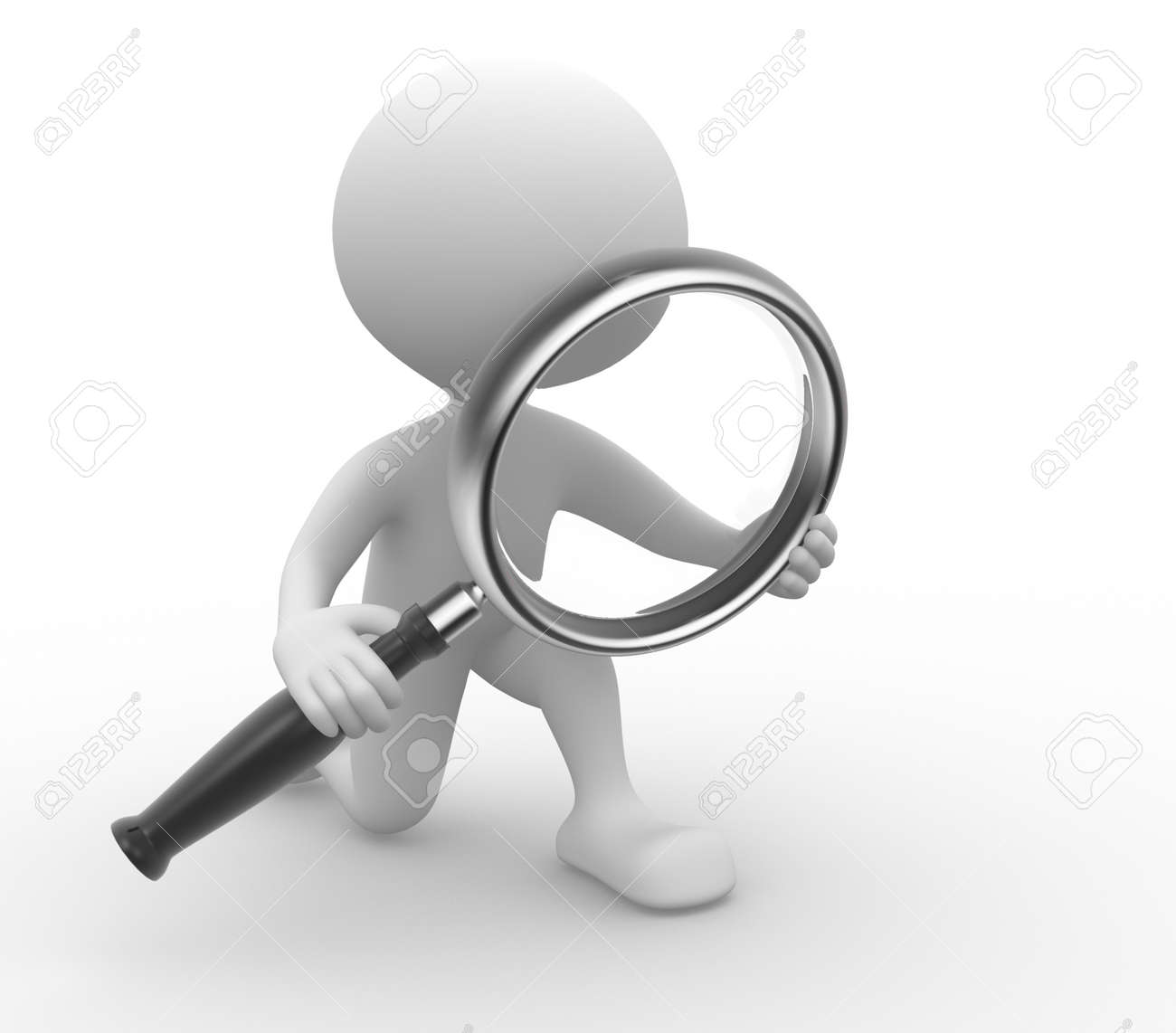 3d people - man, person with a magnifying glass Stock Photo - 21358971