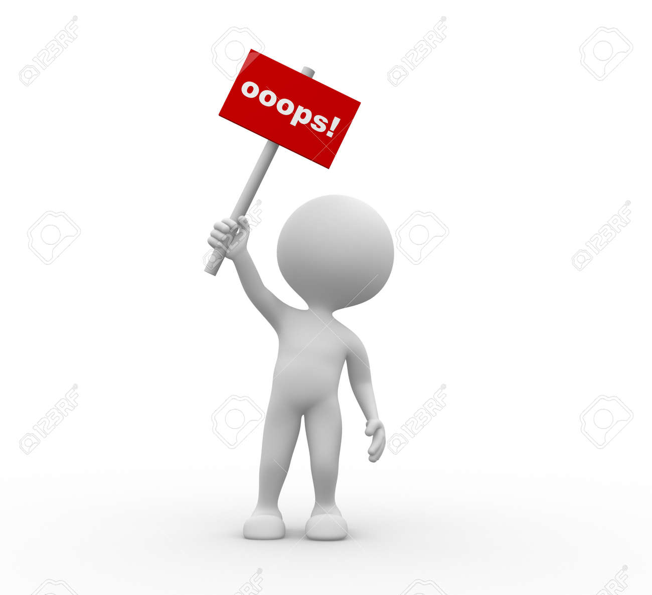 3d people - man, person with a banner  Oops Stock Photo - 21358974