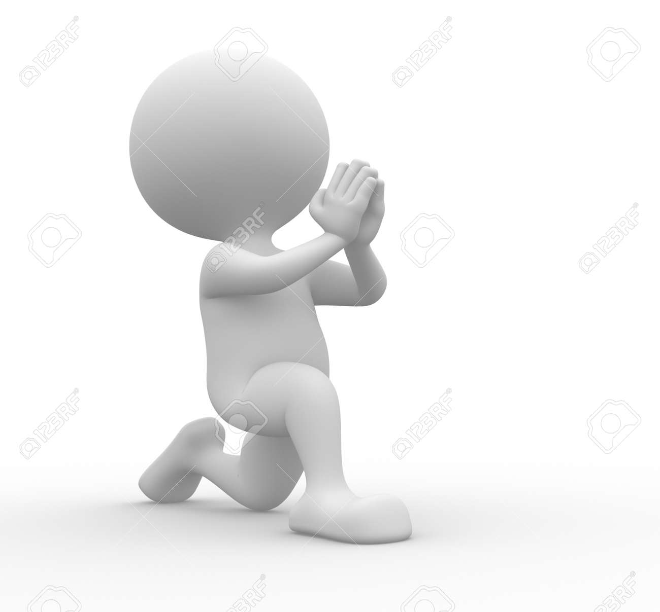 3d people - man, person on his knees asking for forgiveness Stock Photo - 21358975
