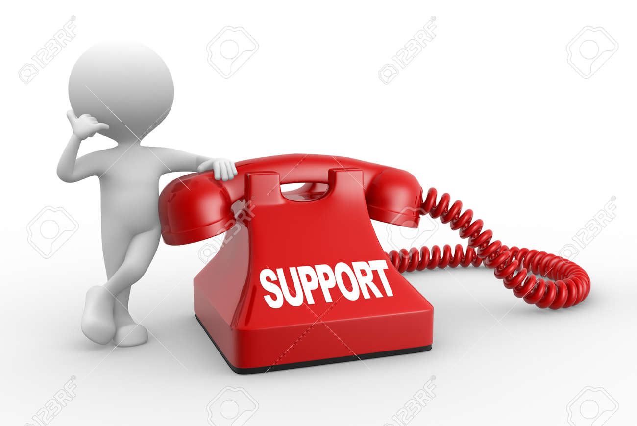 3d people - man, person and phone  Support Stock Photo - 21358980
