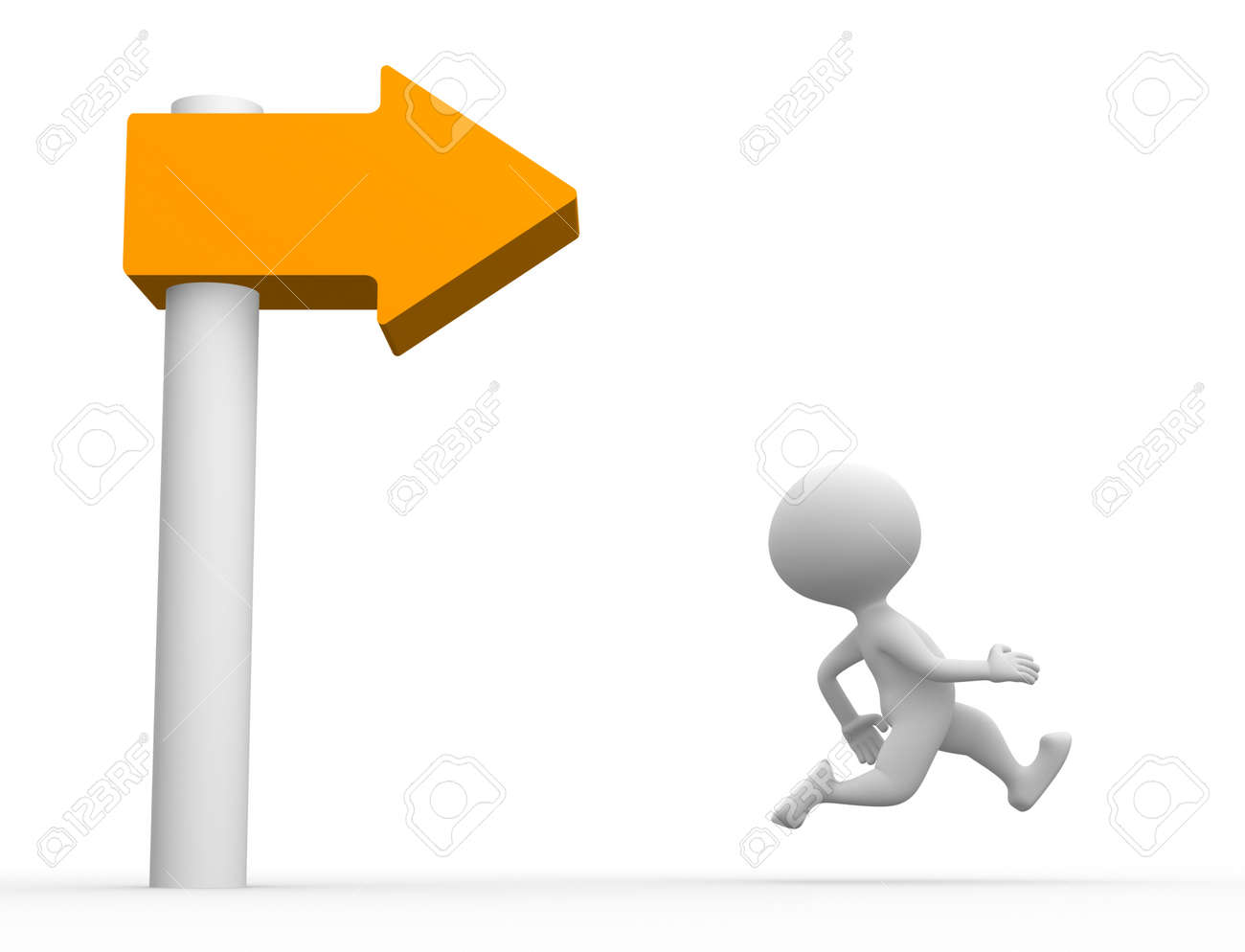 3d people and directional sign Stock Photo - 21924626