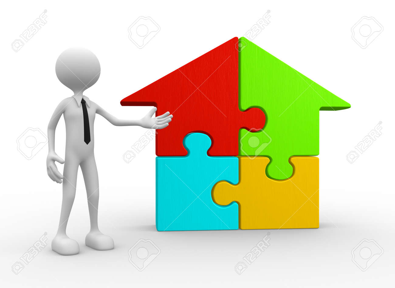 3d people man person and a house pieces of puzzle jigsaw stock