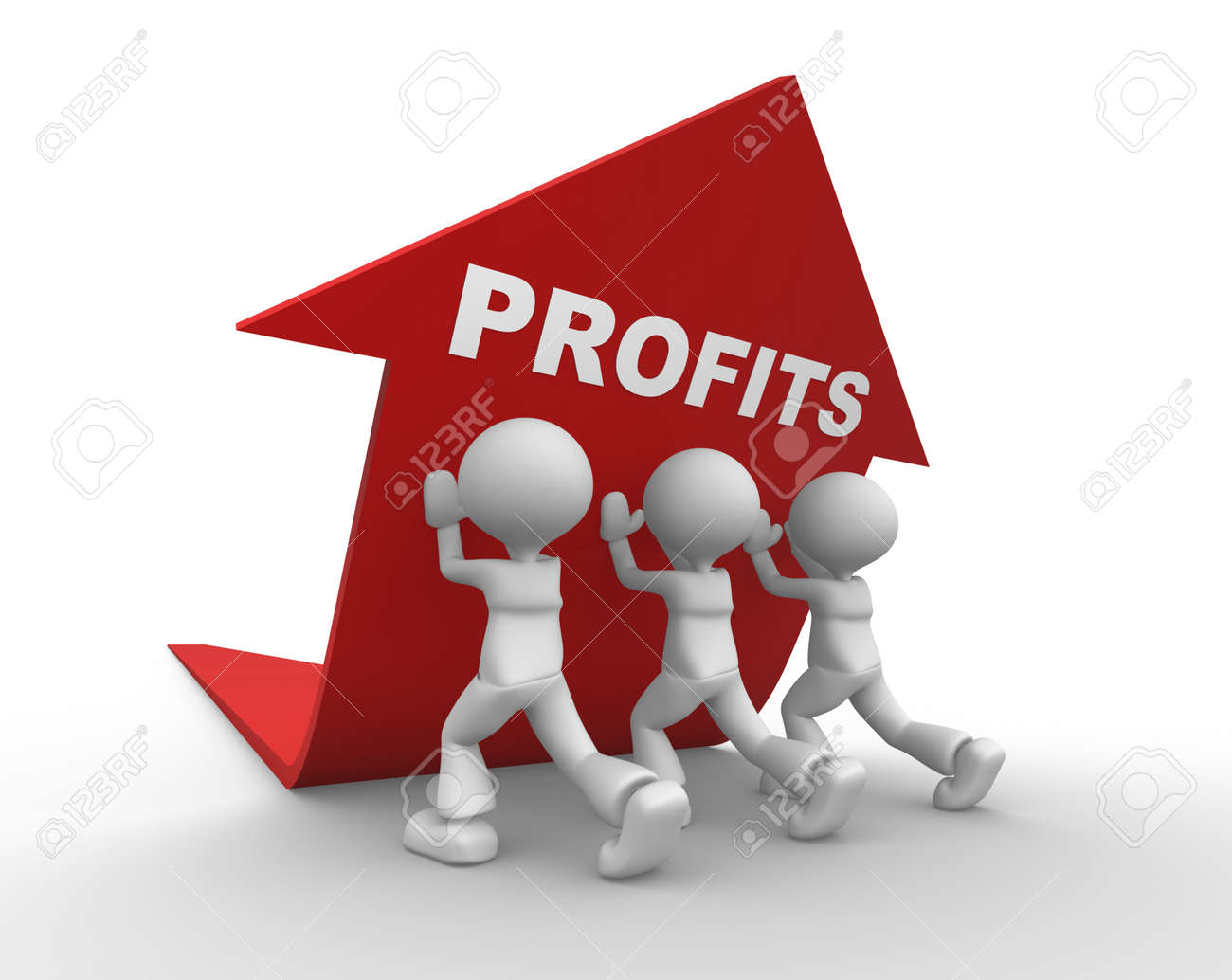 3d people - men, person pushing red arrow. Concept of profits Stock Photo - 24832130