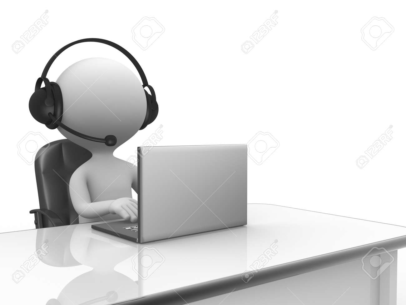3d people - man, person with a Headphones with Microphone and laptop. Stock Photo - 24836606