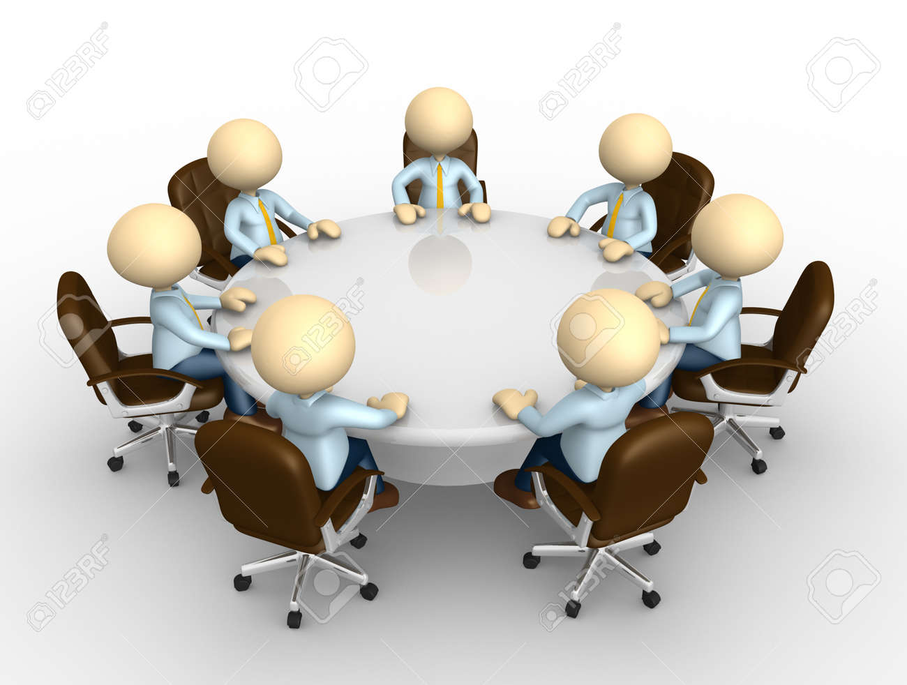 3d People   Man, Person Sitting At A Round Table And Having Business Meeting  Stock