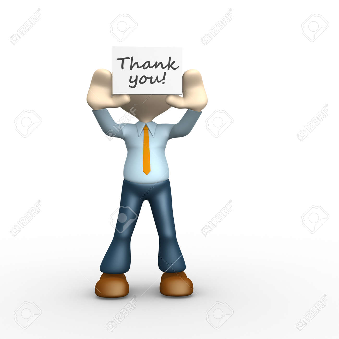 3d people - man, person holding thank you board Stock Photo - 25021719