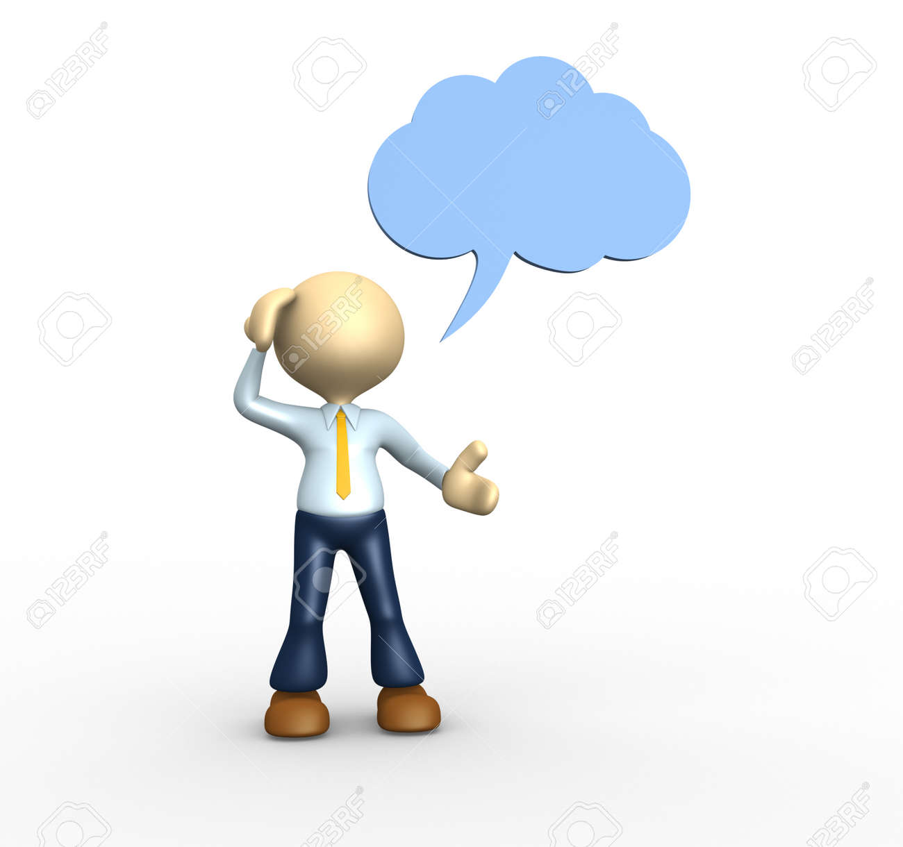 3d people - man, person thinking with thought bubble above his head over Stock Photo - 25021723