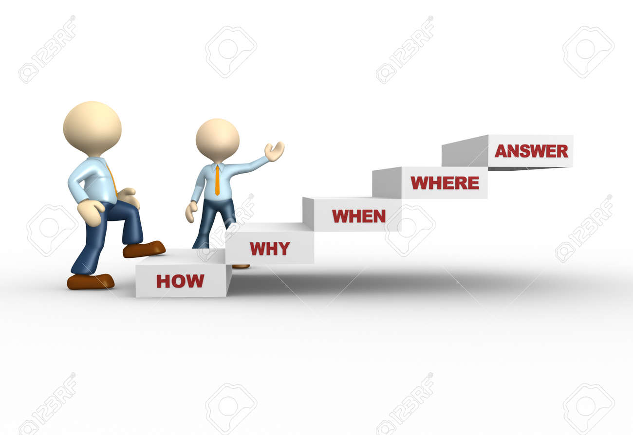 3d people - man, person and stair with various questions ( where?, who?, why?, when?, how?) Stock Photo - 25122361