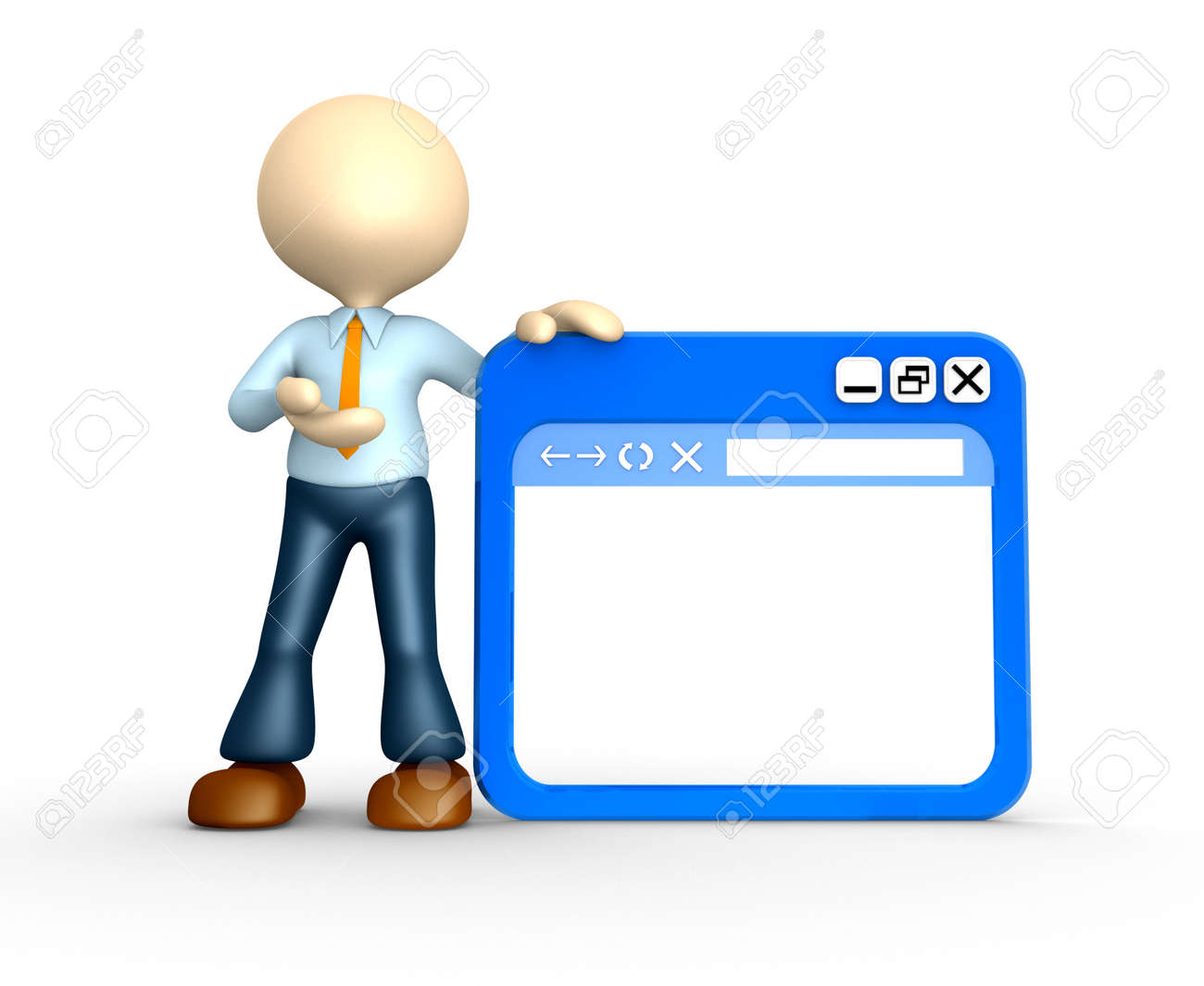 3d people - man, person with browser window Stock Photo - 25208916