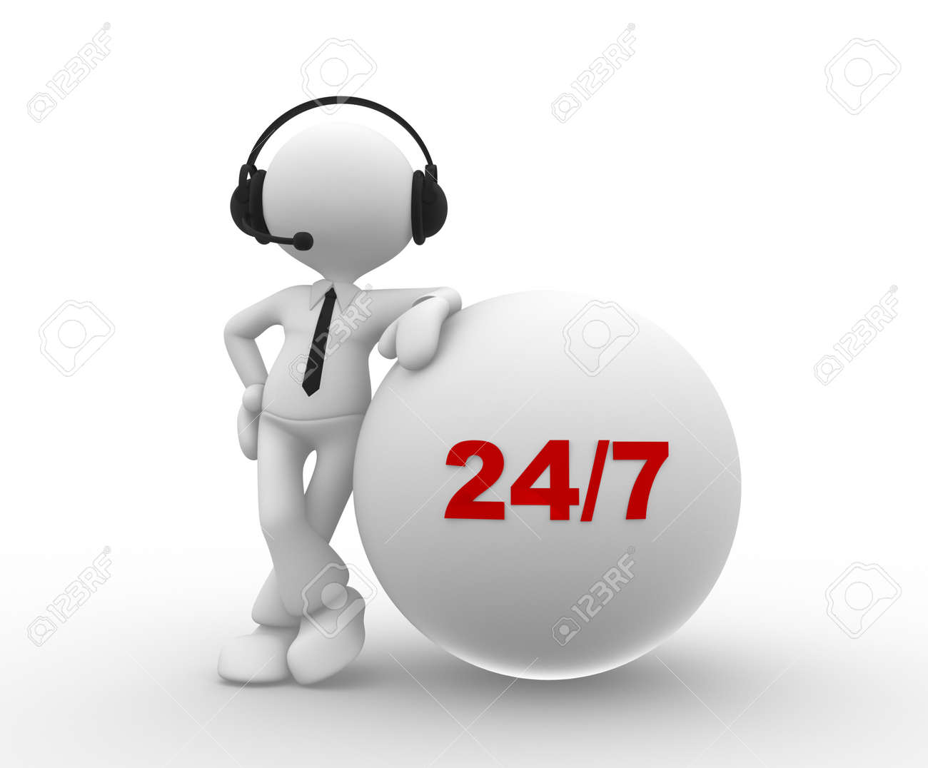 3d people - man, person with headphone and 24/7 Stock Photo - 25491464