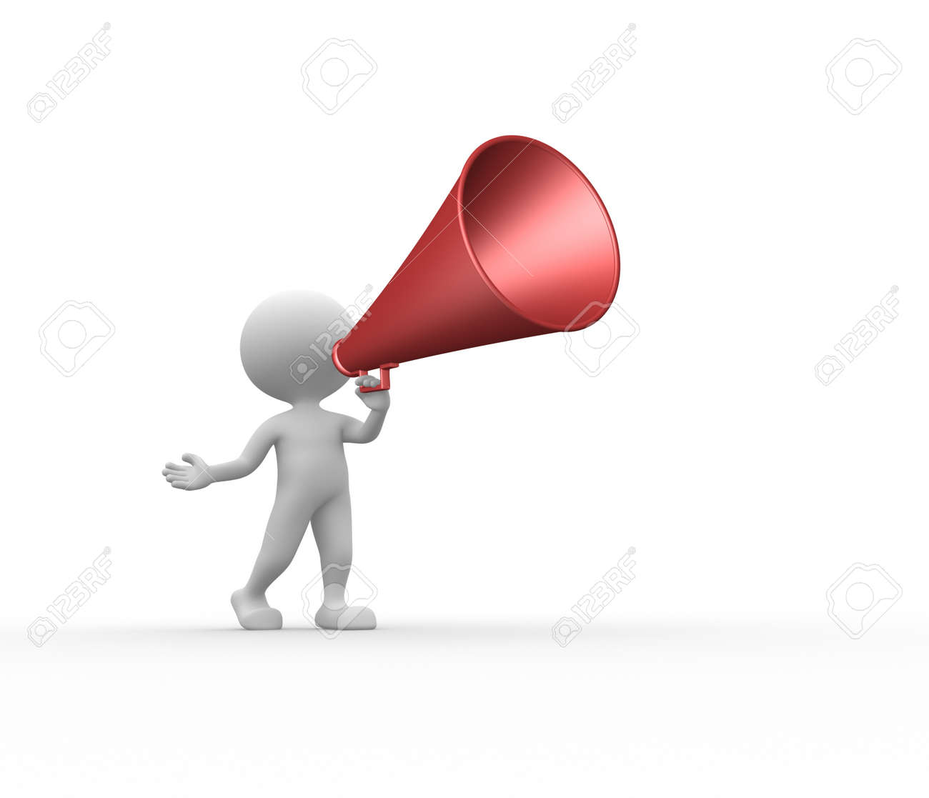 3d people - man, person and old megaphone Stock Photo - 25585952