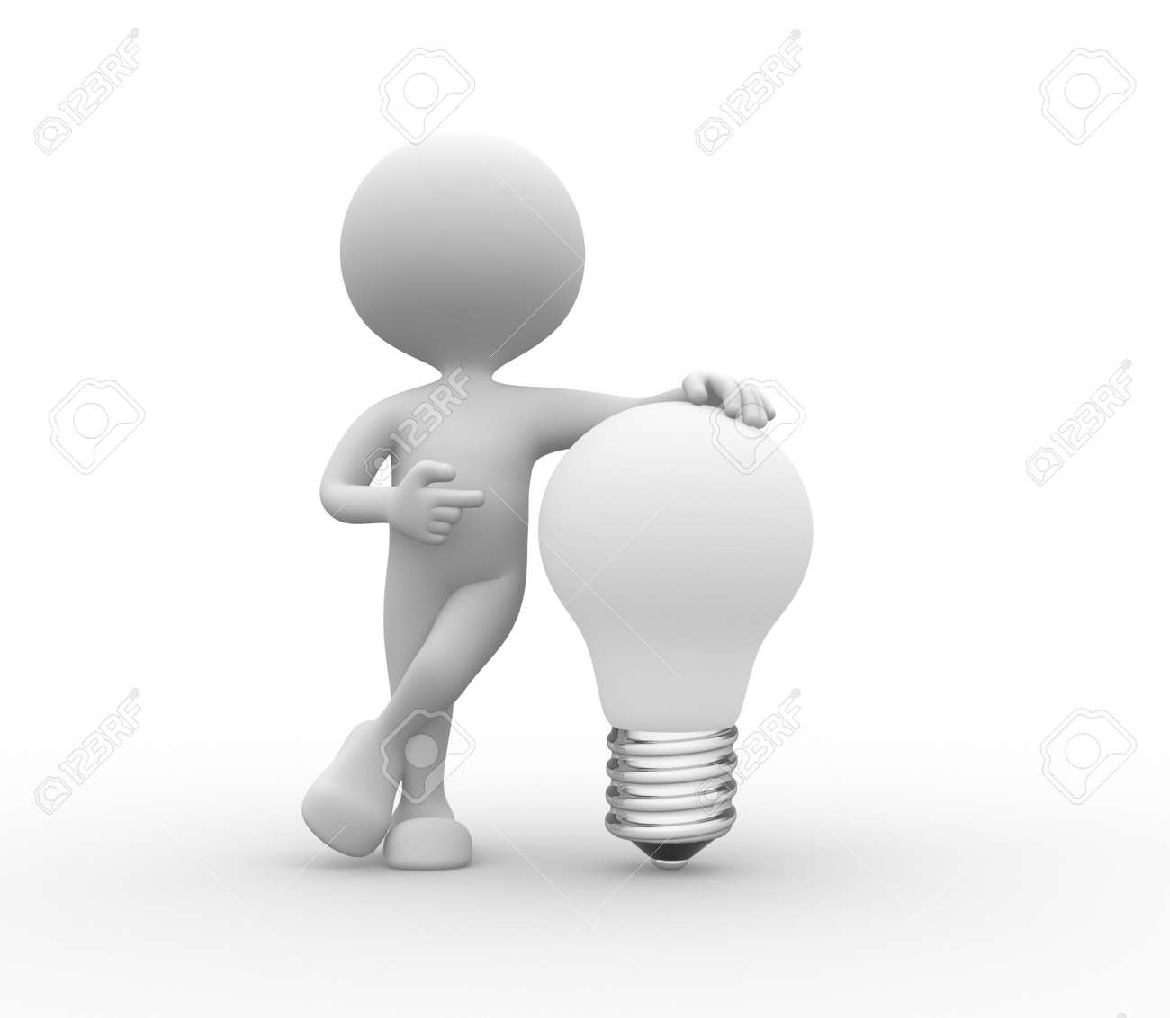 3d peole - men, person with white lightbulb Stock Photo - 25586031