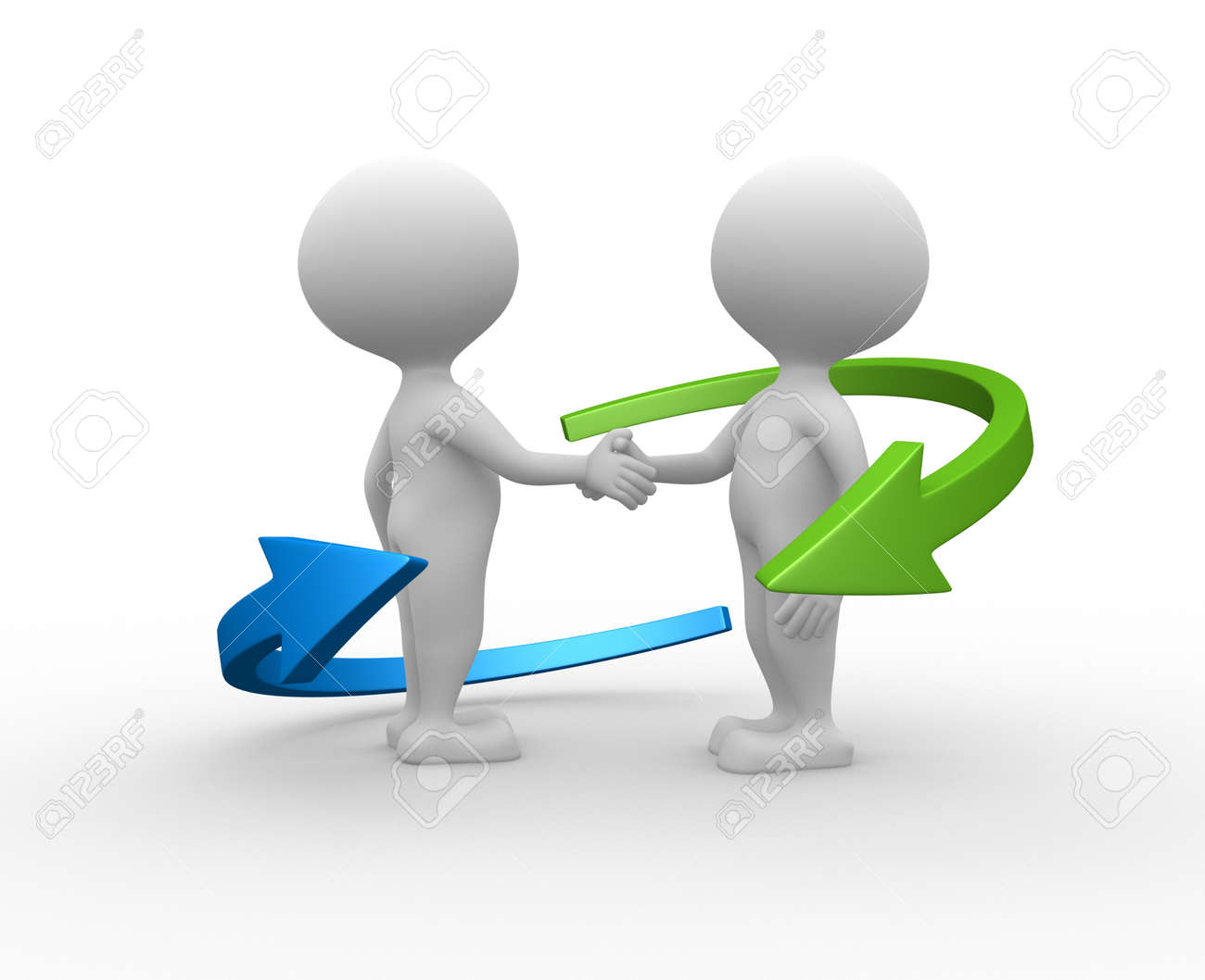 3d people - men, person shaking hands and an arrows. Partnership. Stock Photo - 25849941