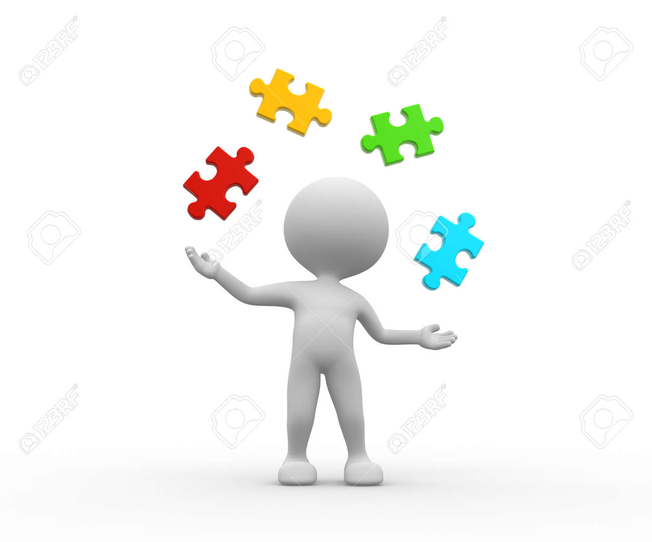 3d people - man, person juggle with pieces of puzzle Stock Photo - 25849965