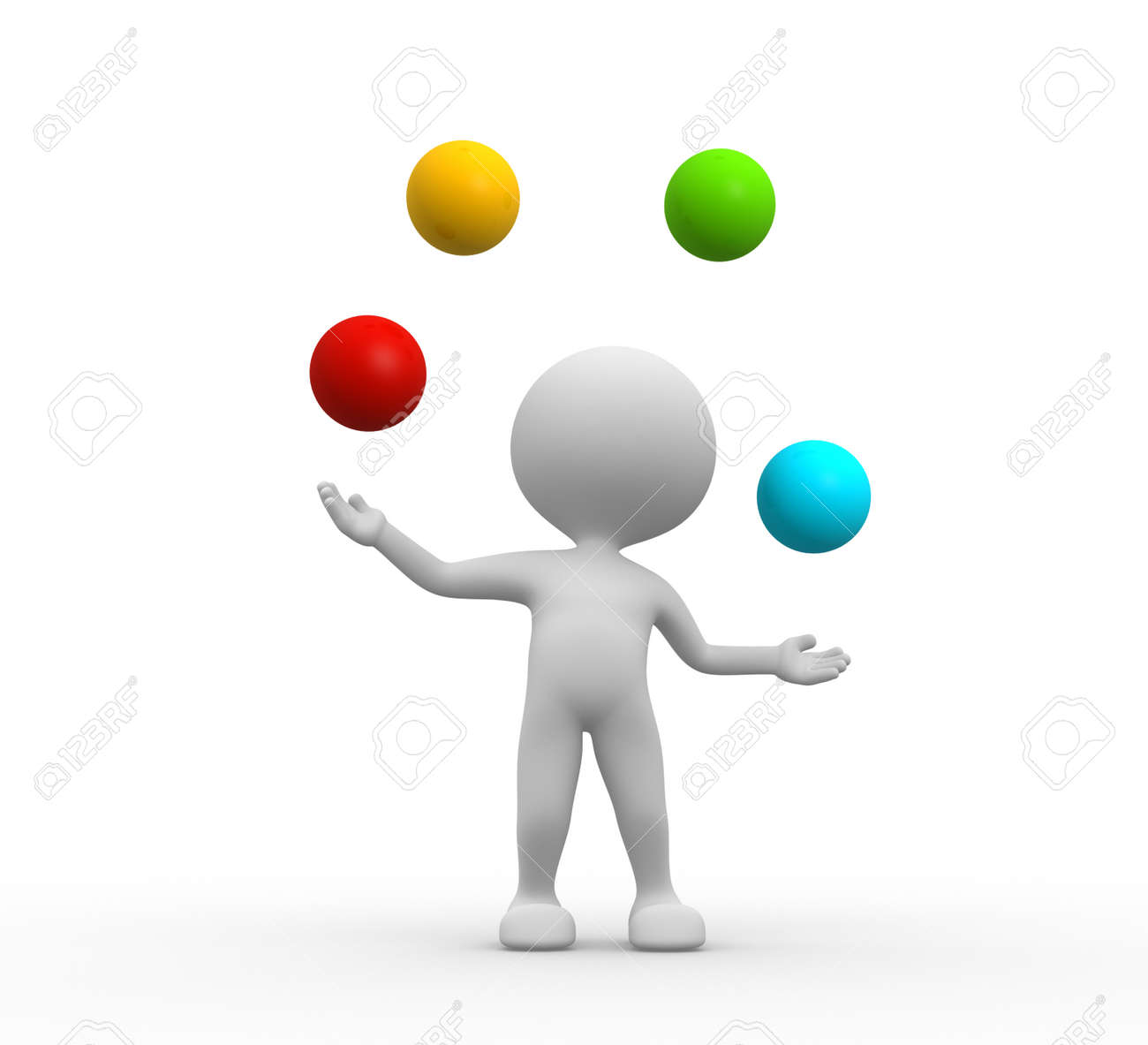 3d people - men, person juggles with a balls Stock Photo - 25849964