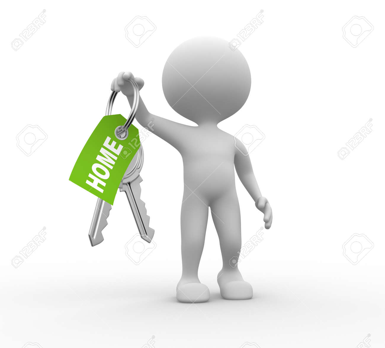 3d people - men, person with a key. Concept of give. Stock Photo - 25927774