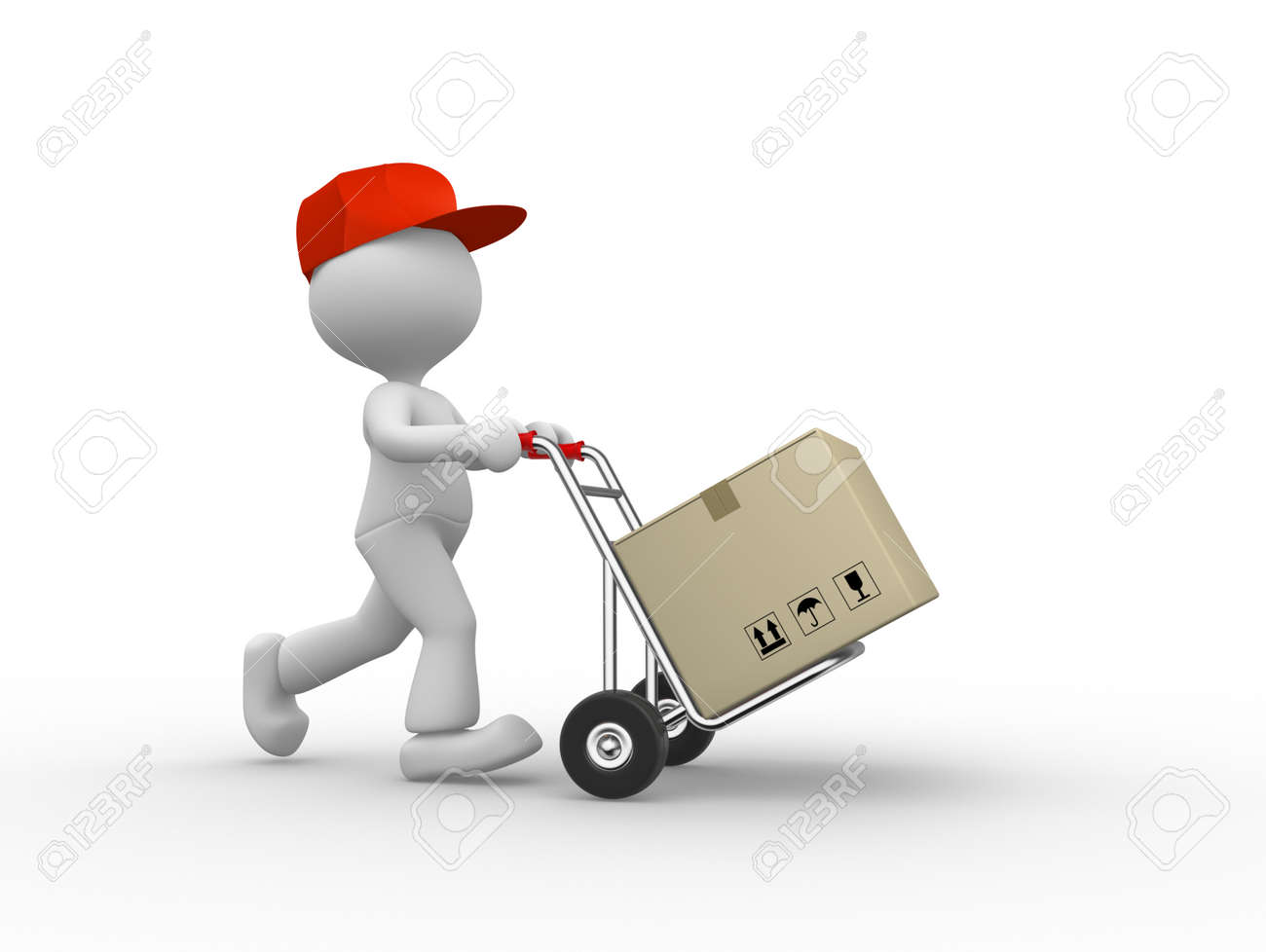 3d people - man, person with hand truck and packages. Postman. Stock Photo - 25927792