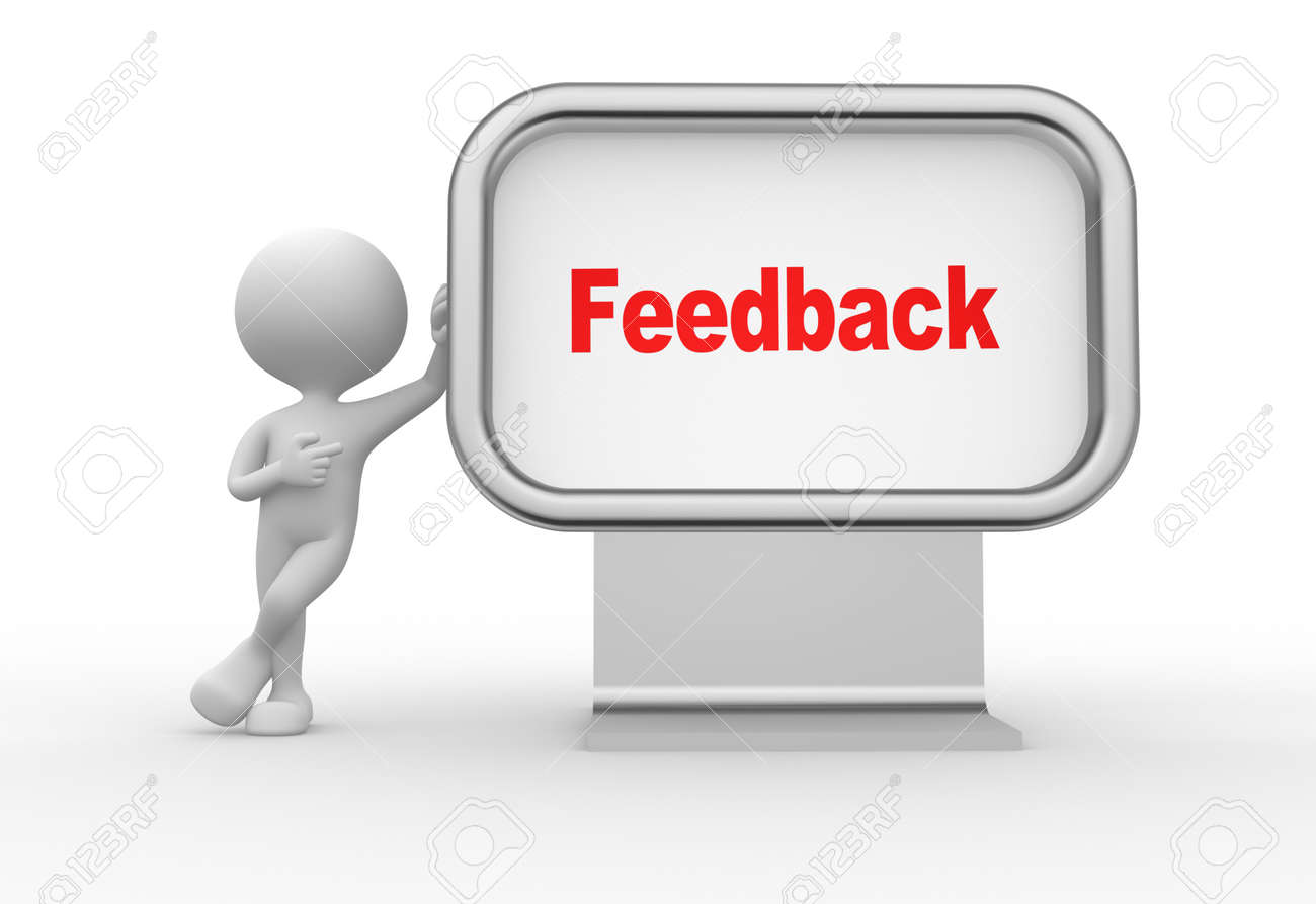3d people - man, person with advertising billboard and word feedback Stock Photo - 25965242