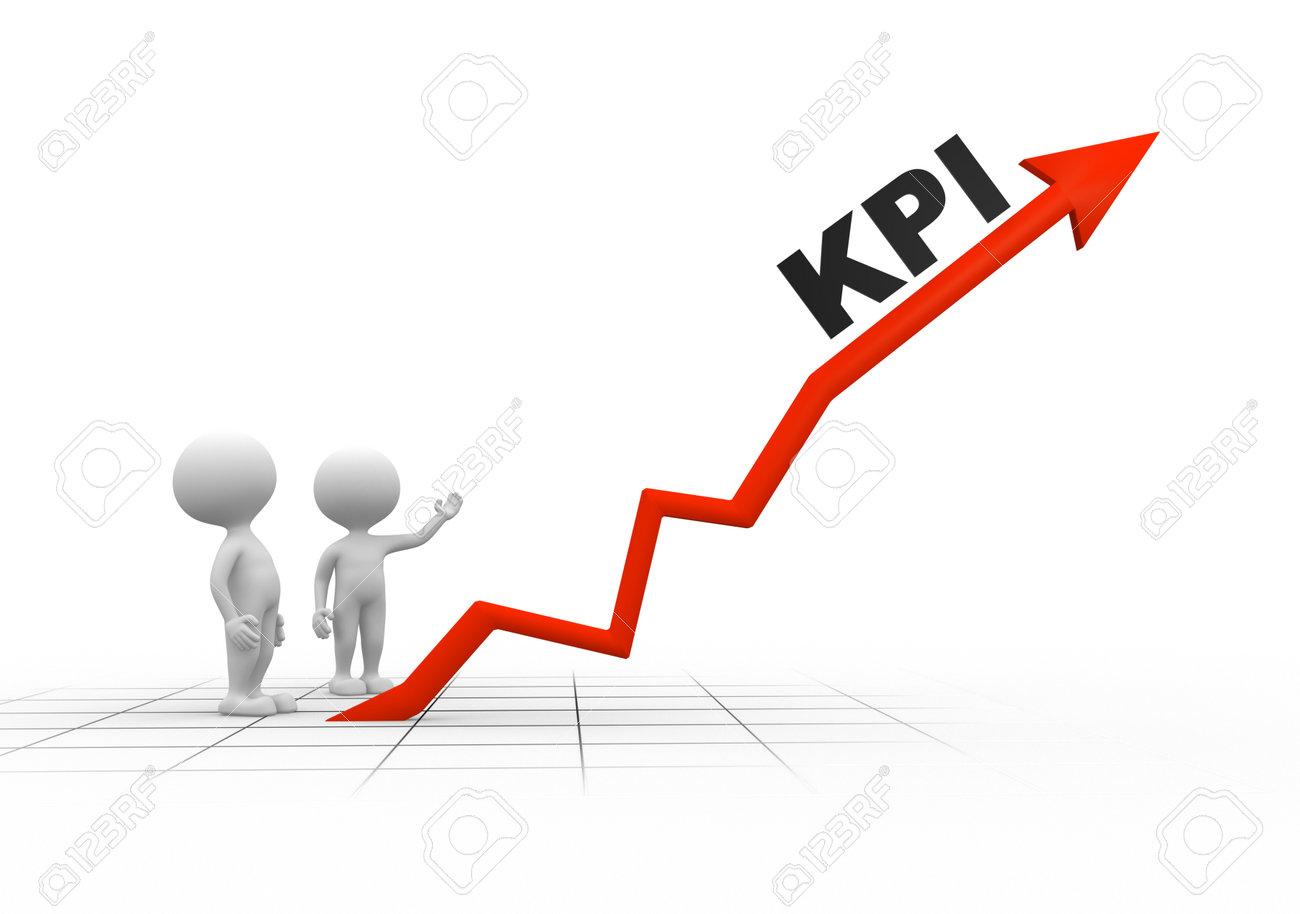 3d people - men, person and arrpw. KPI ( Key performance indicator) Stock Photo - 25965562