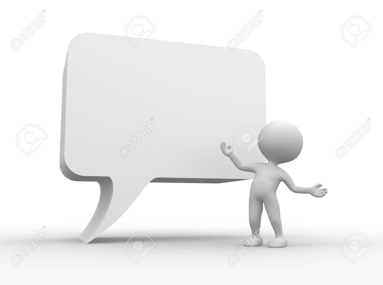 3d people - man, person with a blank speech bubble. Communication concept Stock Photo - 26033102