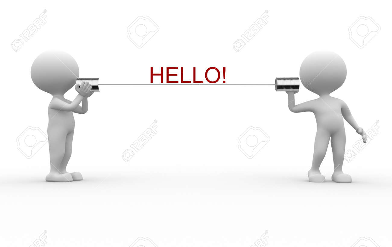 3d people - men, person talking on a homemade can phone. Hello! Stock Photo - 26063413