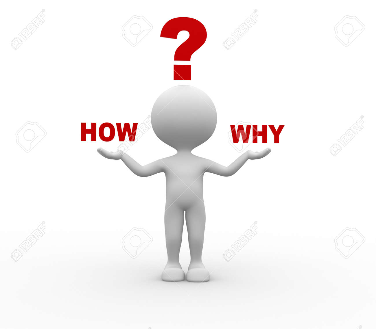 3d people - man, person and questions how? why? Confused Stock Photo - 26111564
