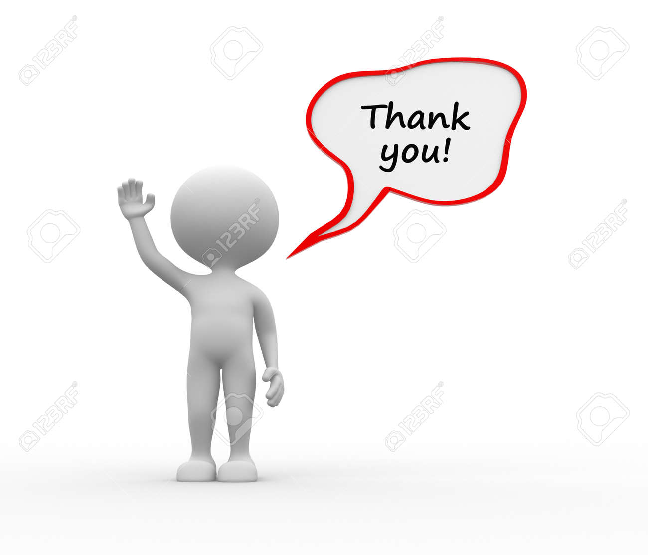 3d people - man, person with dialog bubble and text thank you Stock Photo - 26143168