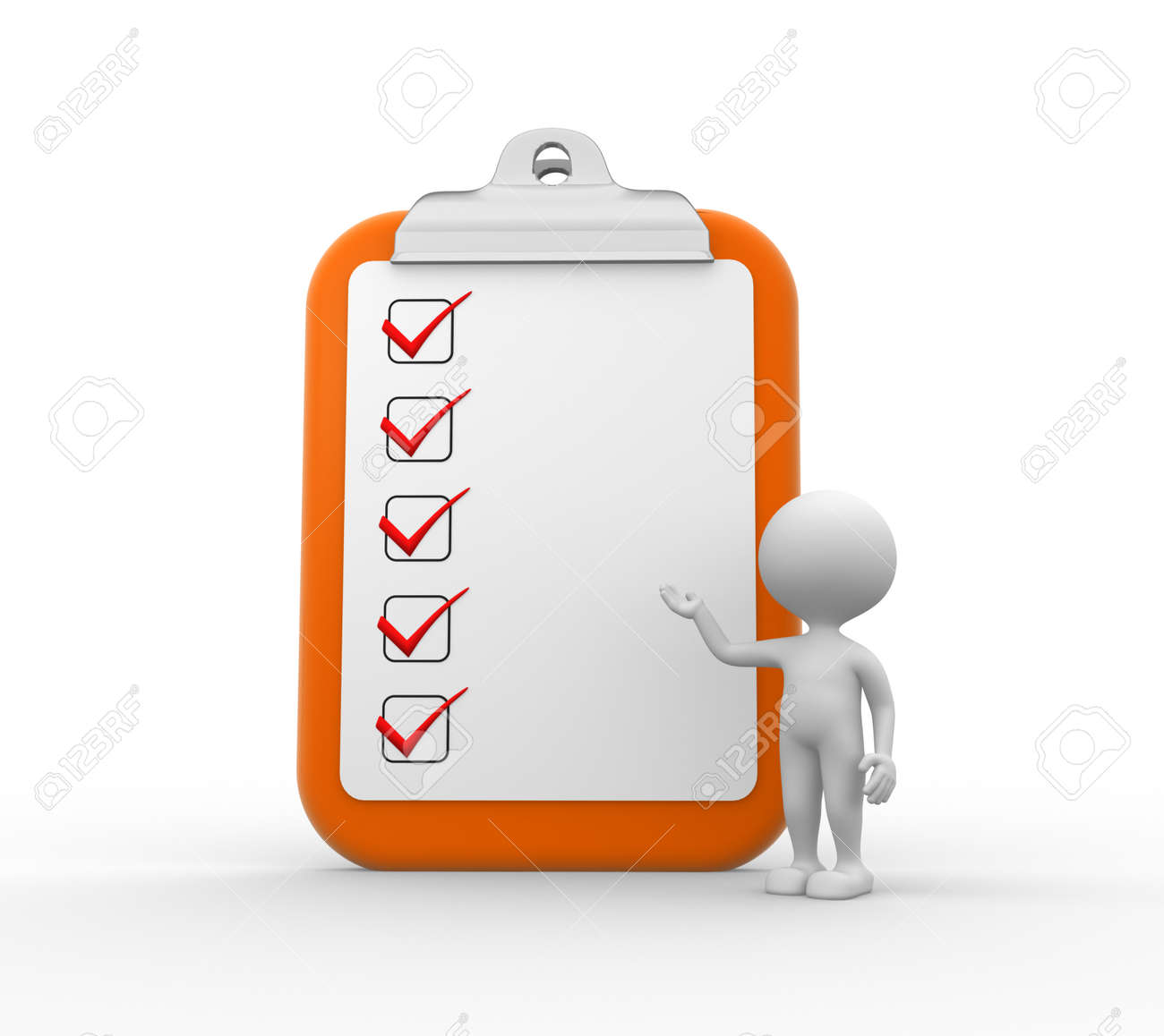 3d people - men, person with big clipboard and checklist Stock Photo - 26143170