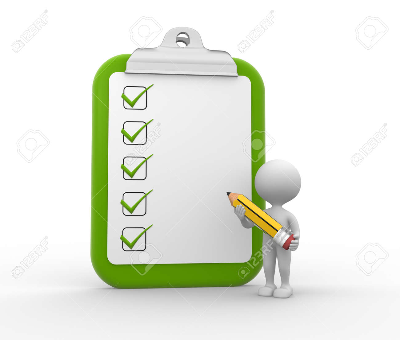 3d people - man, person with big clipboard and a pencil. Checklist Stock Photo - 26143142