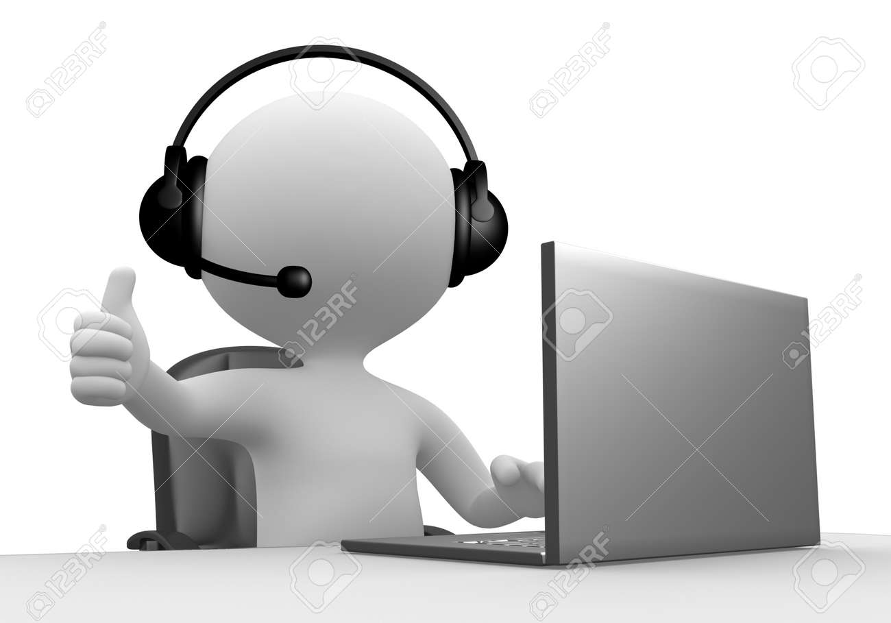 3d people - man, person with a Headphones with Microphone and laptop. Stock Photo - 26363169