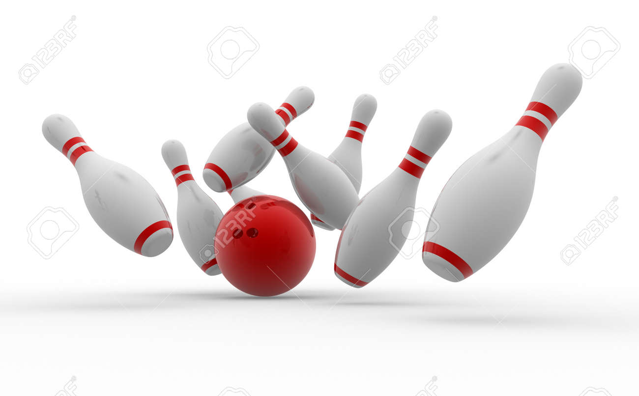 3d Bowling ball crashing into the pins Stock Photo - 26363207
