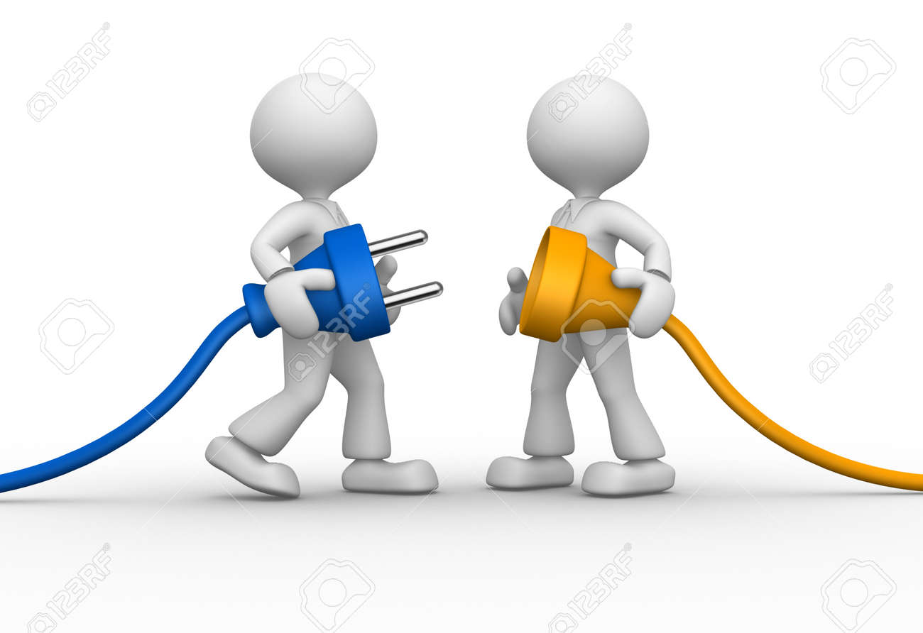 3d people - men, person and electric plug Stock Photo - 26787673