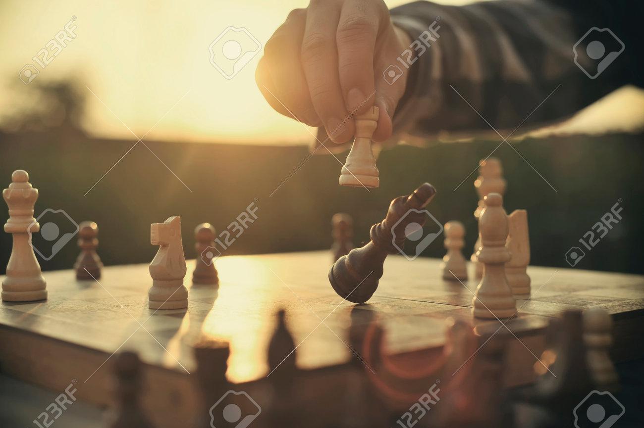 Man playing chess Stock Photo - 34238213