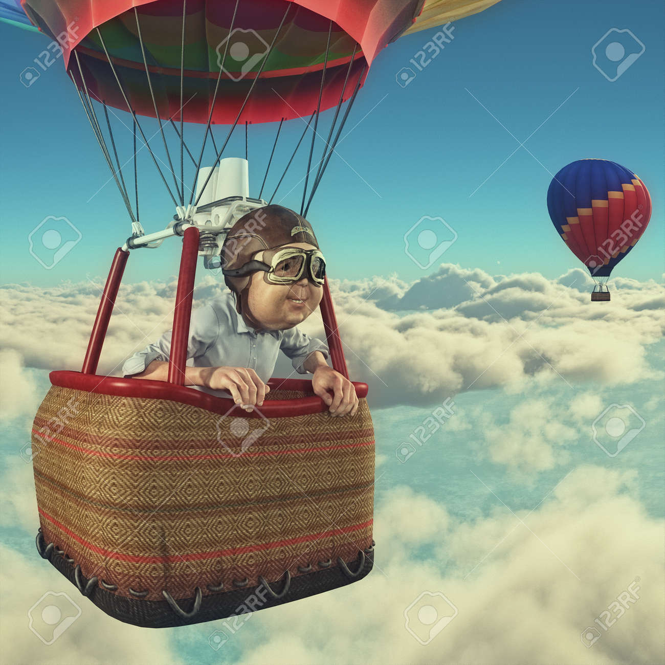 Man Flies Overclouds With Hot Air Balloon. This Is A 3d Render ...