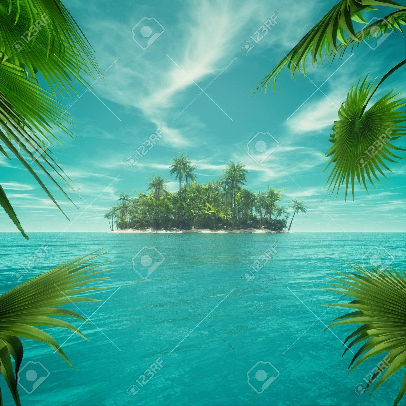 Rahmen Von Blättern Verlassenen Tropischen Paradies Mitten Im Ozean ...