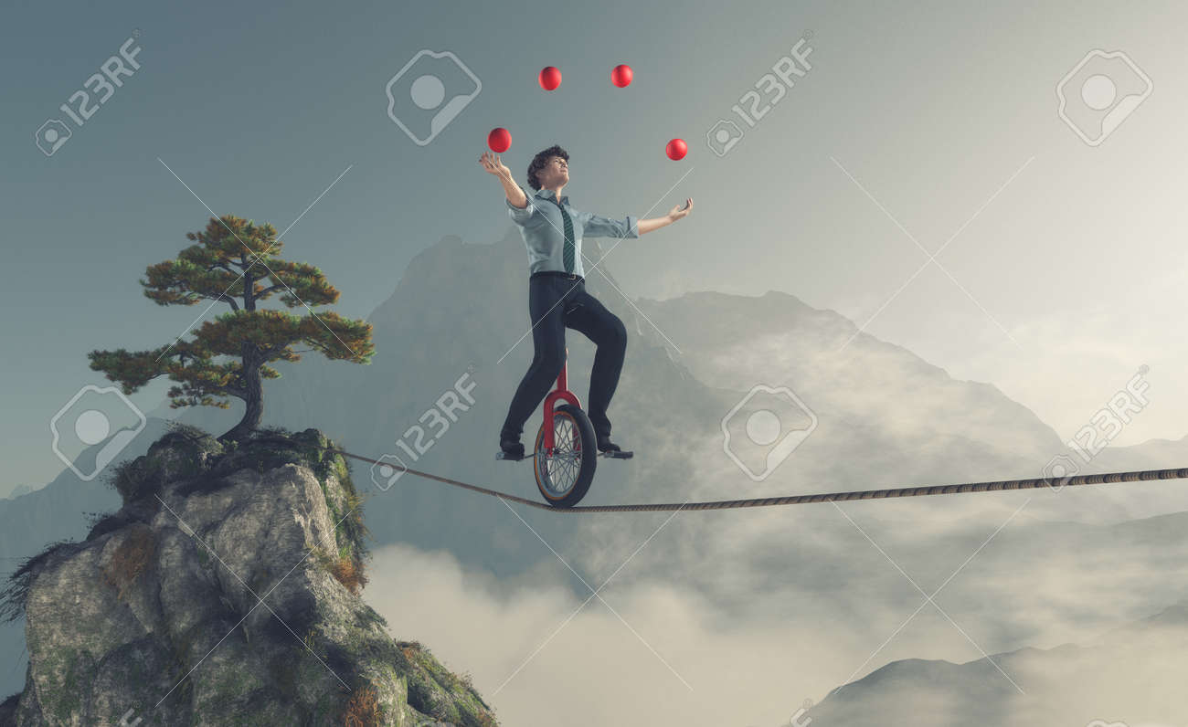 Juggler is balancing on rope with a bike between two mountains. This is a 3d render illustration Stock Illustration - 66312989