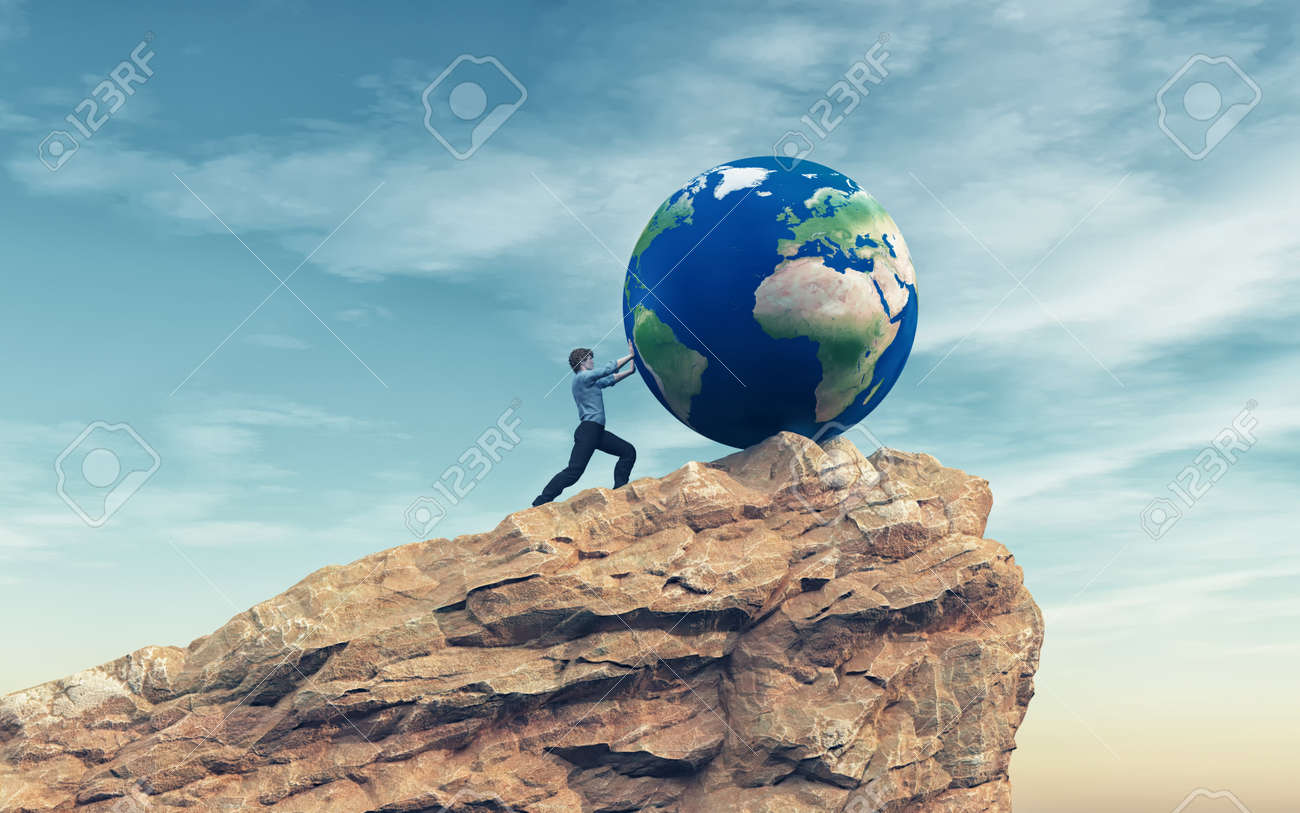70784ead9053 Illustration - Man pushing a big earth globe to the top of the mountain.  Success concept. This is a 3d render illustration