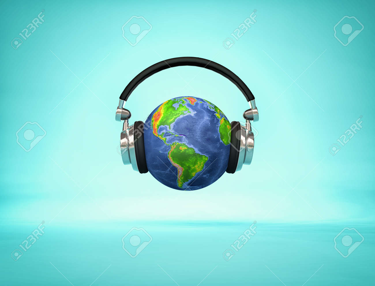 Listening the world - headphone on Earth globe showing American continents. 3d render illustration - 87600946
