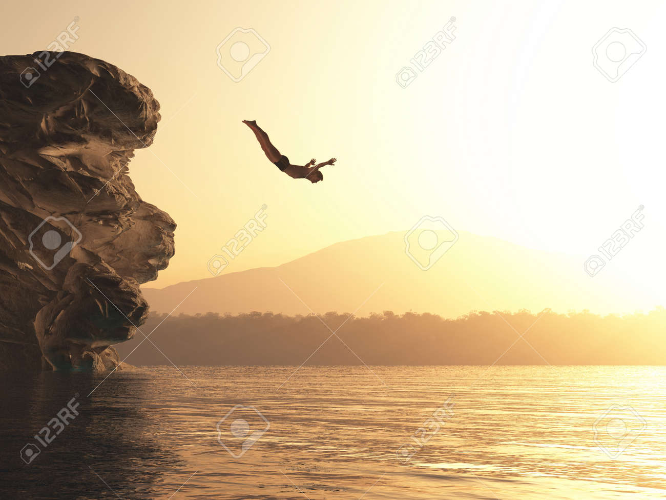 The young man jumps into a lake. This is a 3d render illustration - 118898575