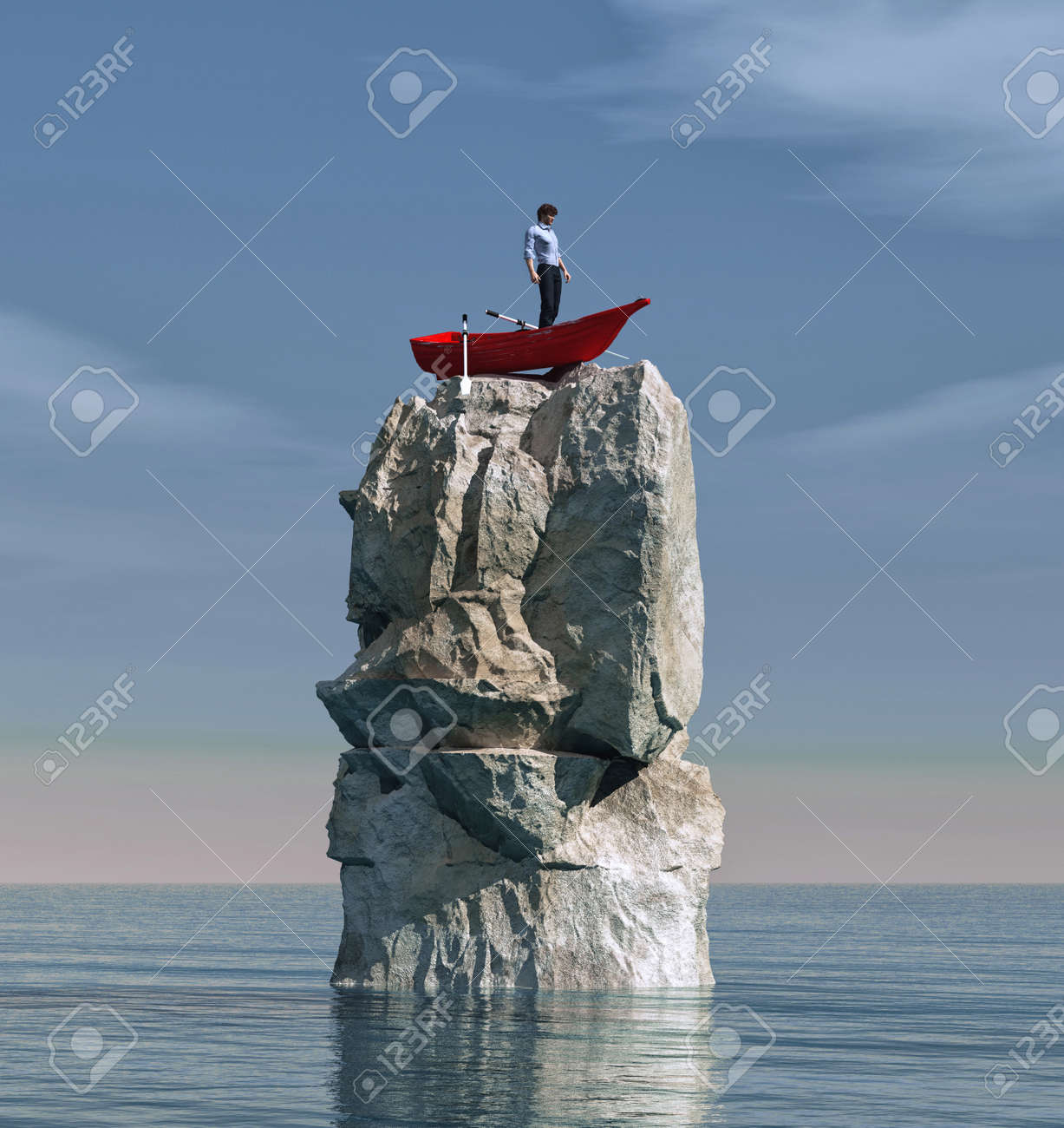 Man in a boat stuck on a big rock in the middle of the ocean. This is a 3d render illustration - 130400886
