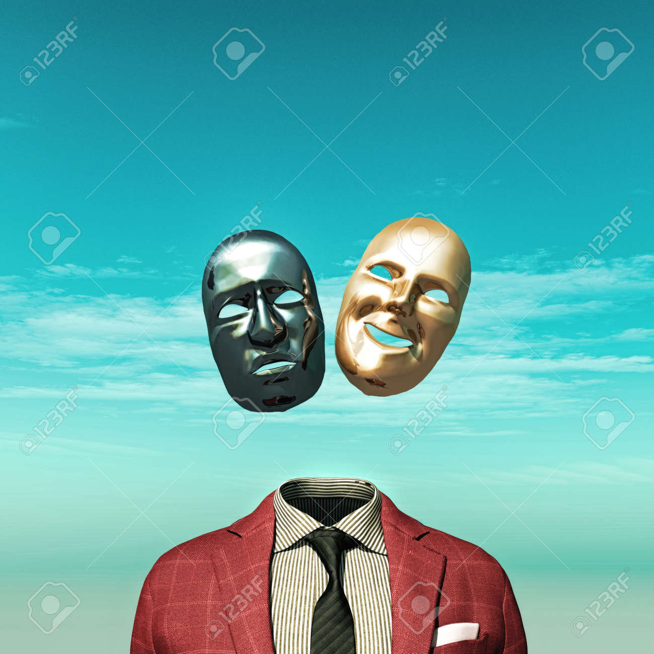 Headless person with two face mask above suit. - 134338632