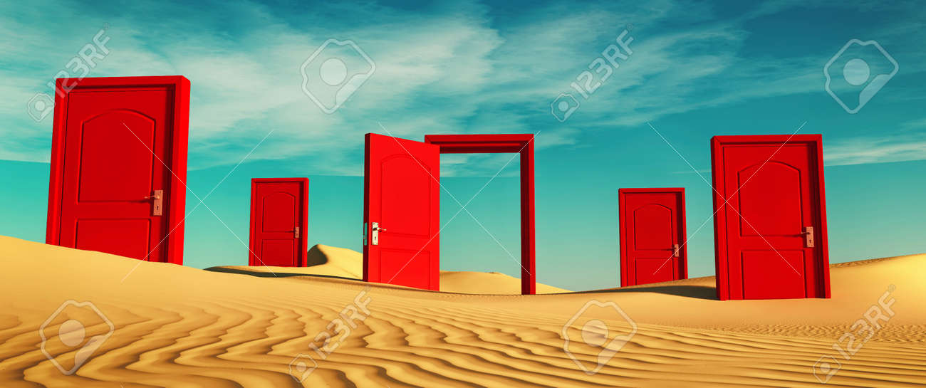 Multiple closed doors in the desert with one open . This is a 3d render illustration . - 143661336