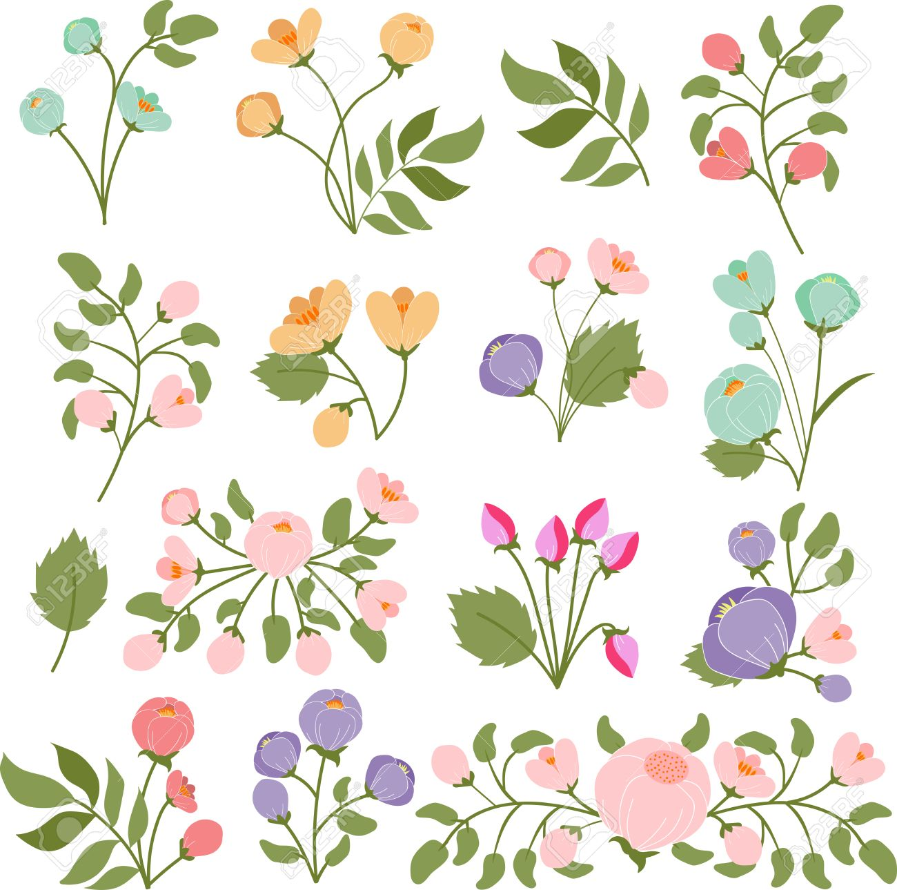 透明な背景のイラスト花の花束 ロイヤリティフリークリップアート